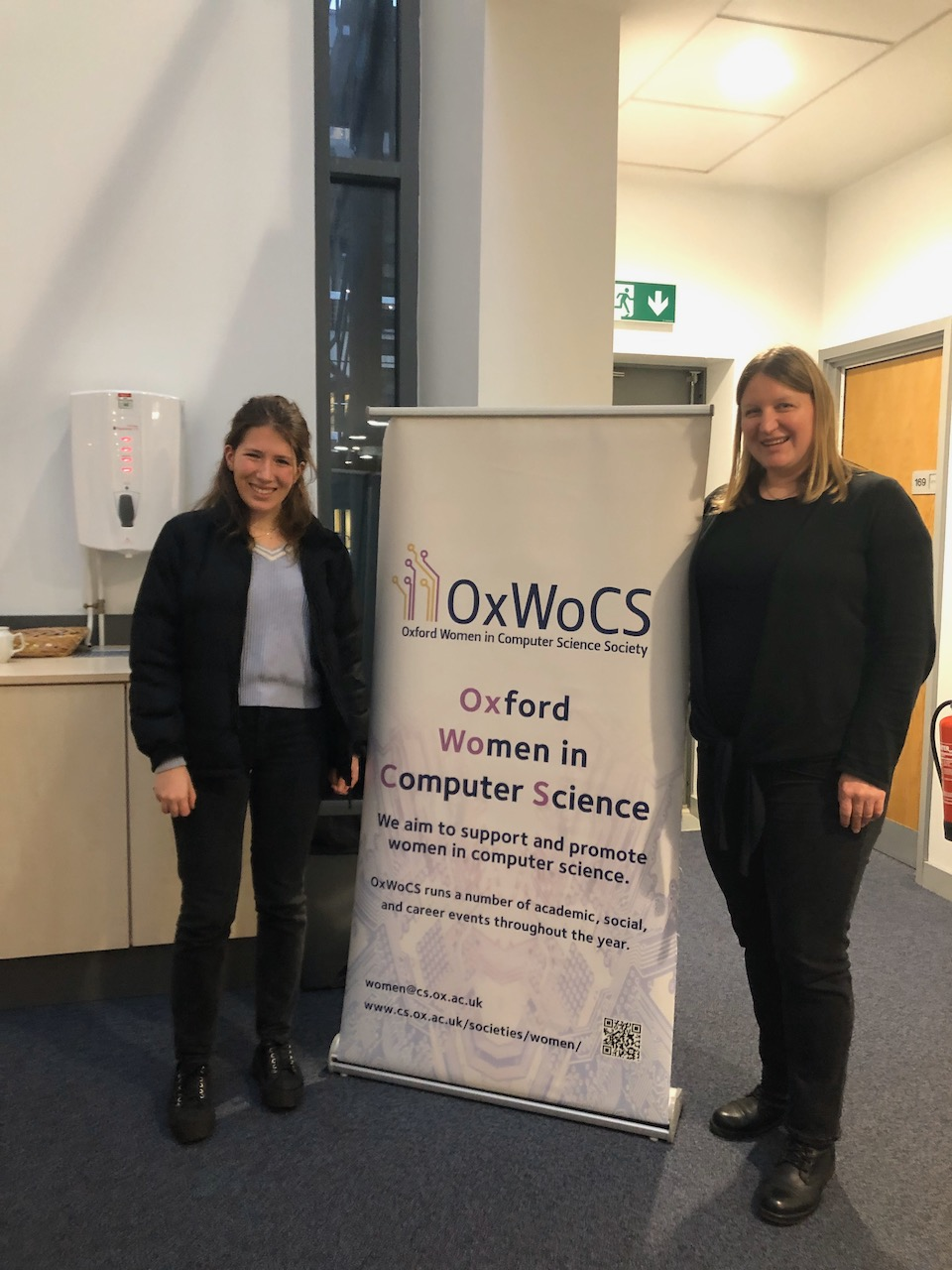 Jasmine Rienecker of OxWoCS, one of the Co-Organisers of the Distinguished Speakers Seminar Series, and Julia Neidhardt.